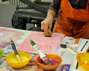Students making printed paper
